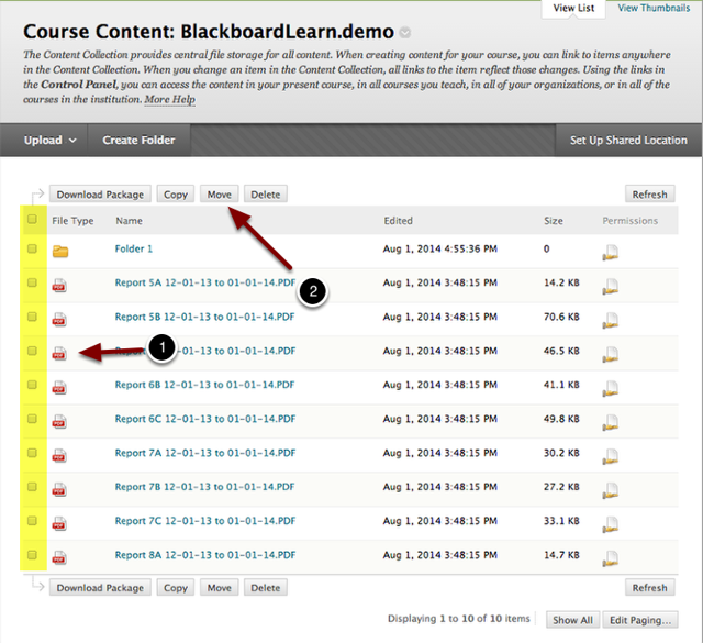 Image of the Course Content screen with the following annotations: 1.Locate the file(s) you wish to move and check the checkboxes to the left of the filenames.2.Click the Move button at the top of the page.