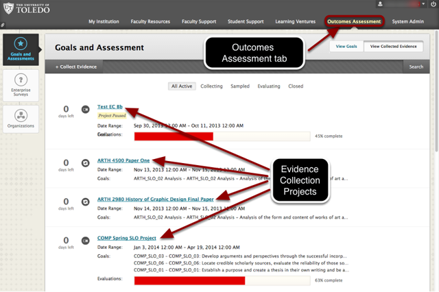 Outcomes Assessment System (screenshot)