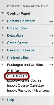 """Step 2 - Choose """"Course Copy"""""""