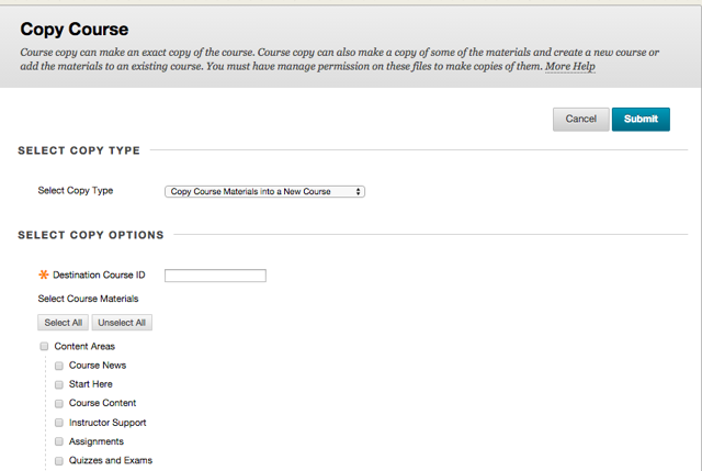 """Step 3 - Select the desired """"Copy Options"""" from the Copy Course screen"""