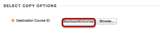 """Step 3.3 -The ID of the destination course should now appear in the """"Destination Course ID"""" box."""