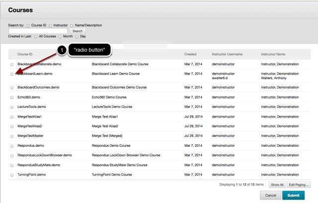 Step 3.2 - Select the Destination Course from the list of available courses