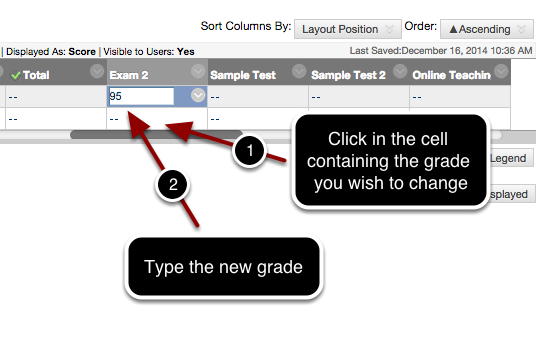 Step 2 - Overwriting (Modifying) Grades in an Automatically Graded Column