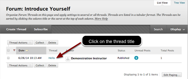 Image of the forum view with threads listed. An arrow is pointing to the thread title with instructions to click on the thread title.