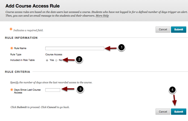 Image of the Add Course Access rule screen with the following annotations: Rule Information allows instructors to modify the rule name:1.Rule Name: Enter a Name for the Rule Here.2.Included in Risk Table: Select Yes to include the rule in the risk table.Rule Criteria allows instructors to modify the rule criteria:3.Days Since Last Course Access: Enter the number of days in the space provided to be alerted when students have not logged in after the number of days specified.4.When finished, click the Submit button to create the rule.