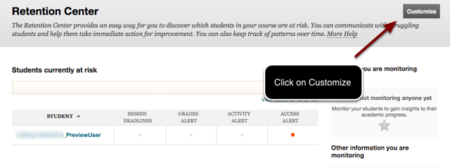 Image of the Retention Center with an arrow pointing to the Customize button with instructions to click on Customize