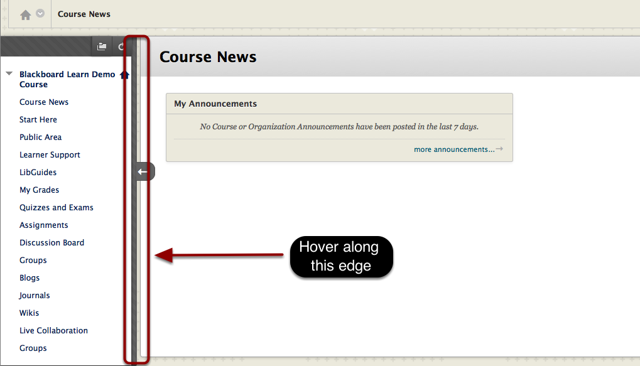 Arrow next to the course menu is highlighted