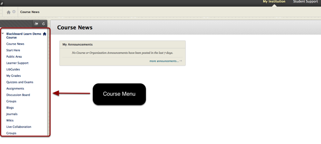 Course menu highlighted
