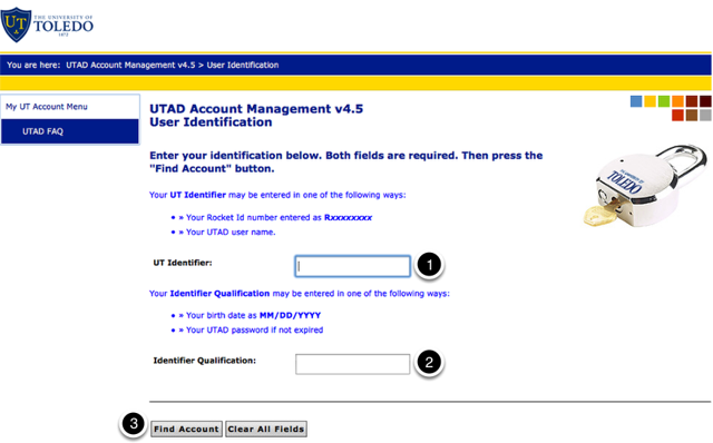 Account Management welcome screen