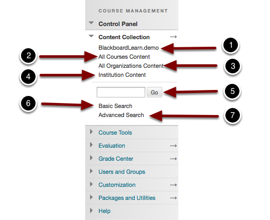 Image of the Control Panel open at Content Collection with the following annotations: 1.Click on the Course ID to access the Content Collection for the current course.2.All Courses Content: This link will allow access to all courses for which you have instructor access.3.All Organizations Content: This link will allow access to all organizations for which you have instructor access.4.Institution Content: This link provides access to content that has been made available to instructors at the institutional level.5.To search for content, enter a search term, and click the Go button.6.Basic Search: Click this link to search for content in the current course.7.Advanced Search: Click this link to search for content defined by additional parameters.