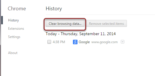 Image of the History options screen with the clear browsing data button outlined with a red circle.