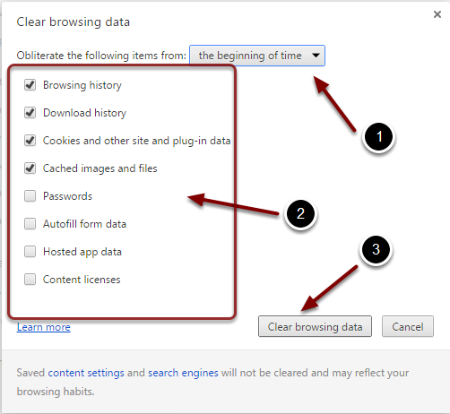 Image of the Clear Browsing Data button with the following annotations: 1.Obliterate items from: Select the option labeled From the Beginning of Time from the dropdown menu.2.From the list of checkboxes, leave the items checked by default.3.Click the Clear Browsing Data button to clear the history, cookies, and cache.