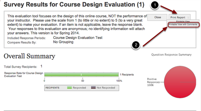 Image of the survey results with the following annotations: 1.Response Periods: Check the response periods you wish to view2.Compare Responses By: (No Comparison Needed, Response Periods, Demographics, All Courses I Teach, Specified Survey Question) Choose the parameters for comparing the results. To view results for the specific course only, choose No Comparison Needed.3.When Finished, click the View Results button at the bottom of the page.