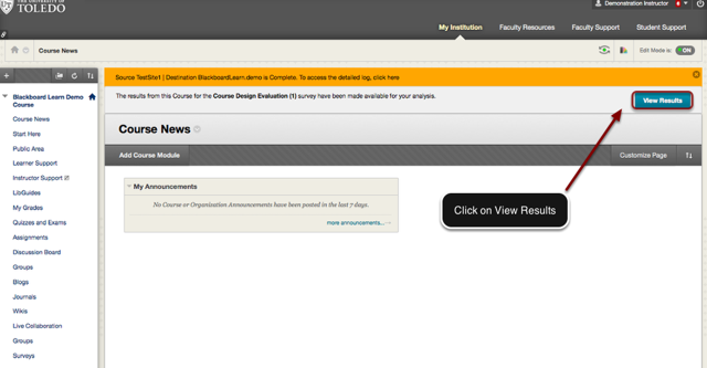 Image of the course news page