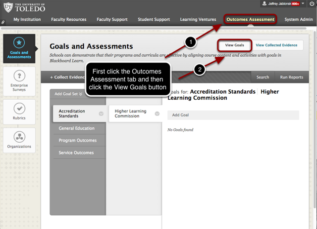 Accessing Goals via the Outcomes Assessment Tab