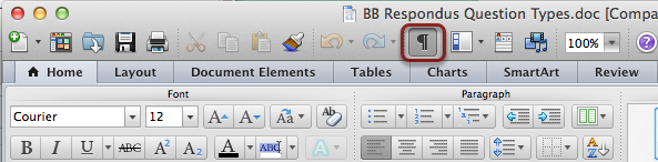Helpful Notes for Formatting Respondus Documents