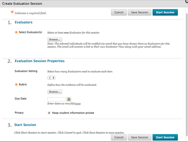 Step 2 - Select the Evaluators and the Evaluation Session Properties