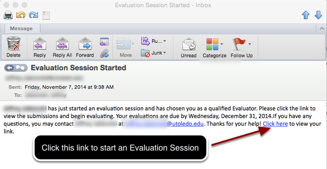 Email Message to Evaluators