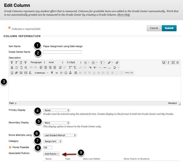 Editing the Column Information