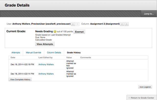 Image of the Grade History tab in the Grade Details screen.