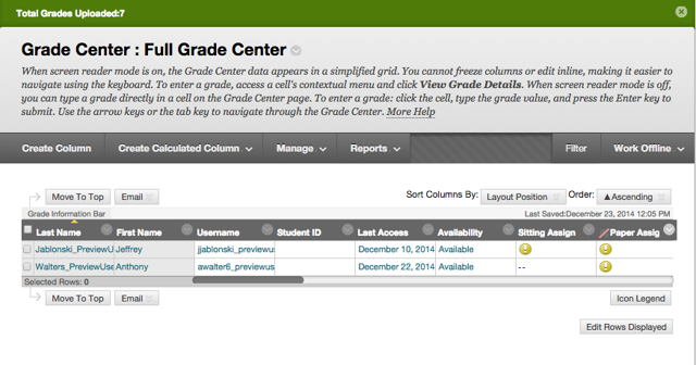 Image of the Full Grade Center with a message bar at the top reading Total Grades Uploaded: 7.