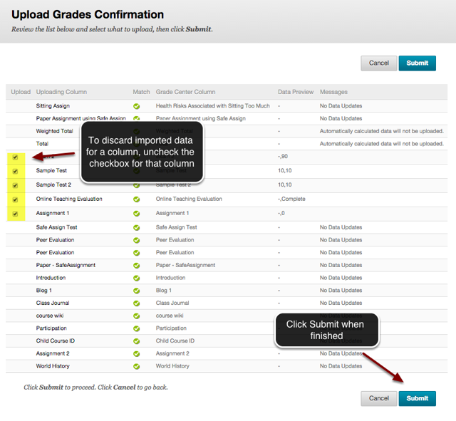 Image of the upload grades confirmation page with instructions indicating to deselect the checkboxes to discard imported data, and to click the Submit button when finished.
