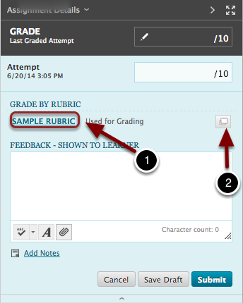 Image of the Grading Panel with the following annotations: 1.Under Grade by Rubric, click on the name of the rubric to grade the rubric inline (the rubric will appear next to the assignment submission)2.Click on this button to grade using the rubric in its own window