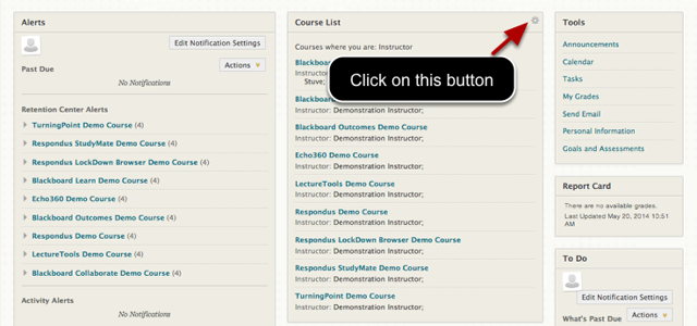 Image of the My Institution page, with a text annotation pointing to the Modify Course List Options button.