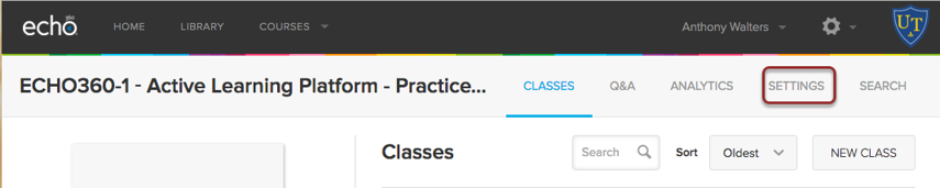 Image of the Echo360 Classes screen showing the settings option highlighed in a red circle