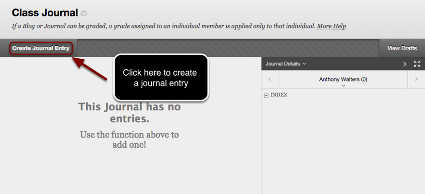 Image of the Journal screen with the Create Journal Entry button outlined with a red circle and an arrow pointing to the button with instructions to click here to create a journal entry