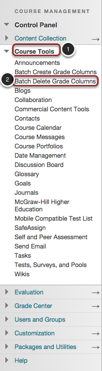 Image of the Control Panel in Blackboard showing the Course Tools option highlighed in a red circle with a number 1 to the left of it. The Course Tools section is expanded to show the Batch Delete Grade Columns tool highlighted with a red circle and a number 2 to the left of it.