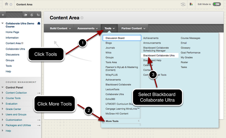 Adding a Collaborate Ultra Link Using the Tools Menu