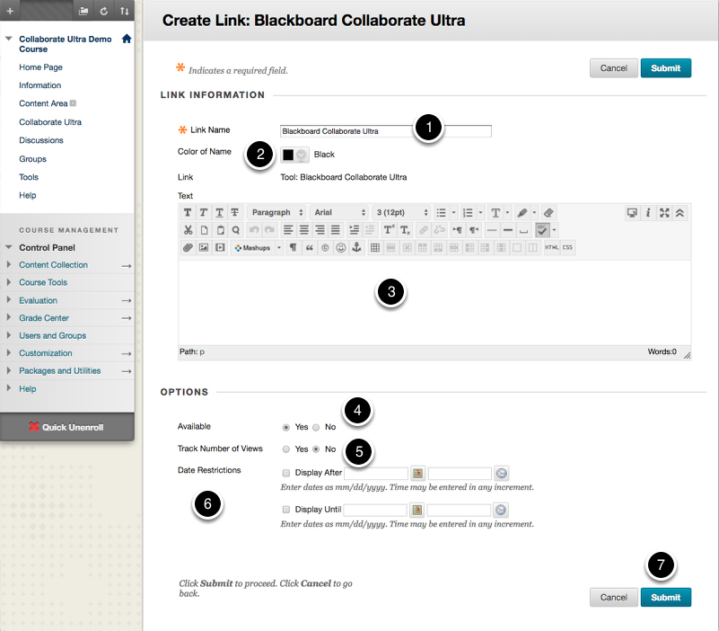 Setting the Collaborate Ultra Link Options