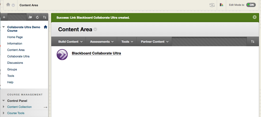 Option B: Creating a Collaborate Ultra Link in a Content Area