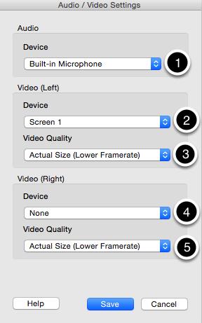 The audio/video settings dialog box