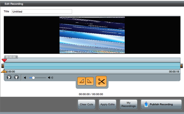 The Edit Recording screen where the video can be played and pieces cut
