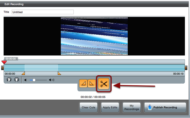 The Edit Recording screen with a red box around the scissor icon
