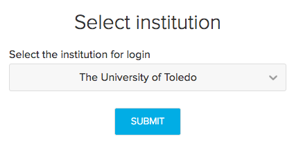 Image of the Select Institution screen