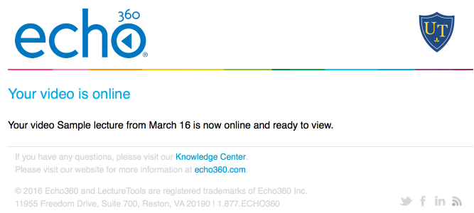 Image of a sample email confirmation from Echo