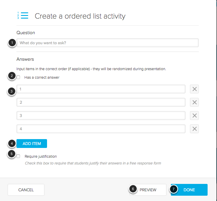 Creating an Ordered List Activity