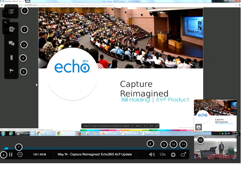 Image of the Echo360 player with the following annotations: 11.Exit Classroom: Click on the button in the upper right hand corner to exit the current classroom or to select a different classroom.2.Notes: Click this button to open the Notes window. For more details, refer to the Taking Notes guide.3.Q & A: Click on the Q & A button to open the Question and Answer Panel4.Bookmark: Click on the Bookmark button to bookmark the current location in the video.5.Confusion:  Click on the Confusion flag to mark the current segment as confusing.6.Play/Pause: Click the Play/Pause button to pause or resume the video.7.Go Back 10 Seconds: Click this button to go back 10 seconds in the video.8.Volume: Click on this button to adjust the volume.9.Playback speed: Click this button to adjust the playback speed to view the video at a faster or slower pace.10.Video Quality: Click this button to change between video quality settings (Standard-definition or high-definition)11.Full Screen: Click on this button to view the video full screen.12.Use the thumbnails to toggle between different video sources (e.g. camera or desktop) and the presentation slides.