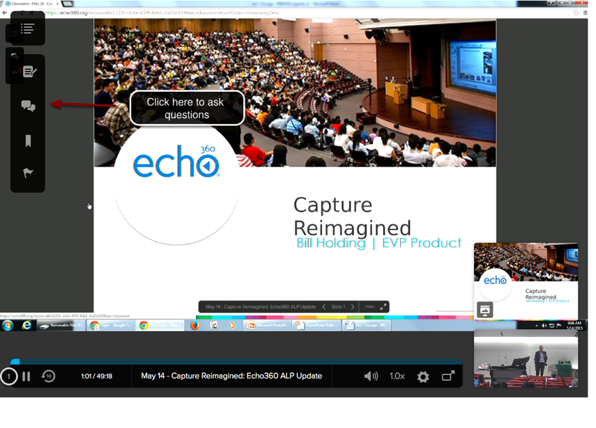 Image of the Echo360 player with an arrow pointing to the Questions button in the upper right corner with instructions to click here to ask questions.