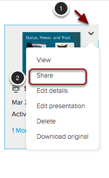 Image of a presentation with the following annotations: 1.Hover over the presentation you wish to edit, and click the button that appears in the upper right corner.2.Select Share from the menu.