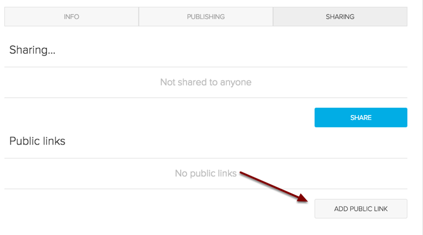 Image of the Sharing screen with an arrow pointed to the Add Public Link button.