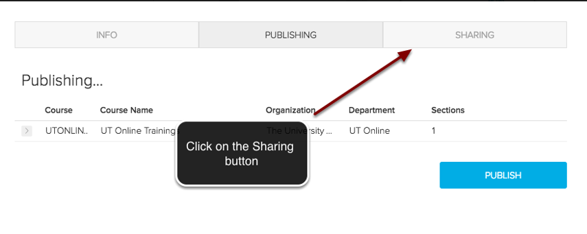 Image of the Echo360 video information screen with an arrow pointing to the sharing button with instructions to click on the sharing button.
