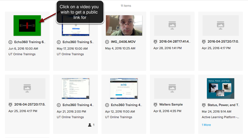 Image of the Echo360 library with an arrow pointing to a video with instructions to click on a video to get a public link.
