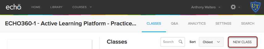 Image of the Echo 360 Classess page with the New Class button highlighted in red.