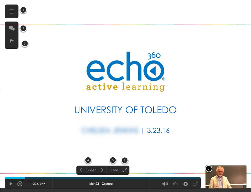 Image of the Echo360 presentation viewer with the following annotations: 1.Exit Classroom: Click on the button in the upper right hand corner to exit the current classroom or to select a different classroom.2.Q & A: Click on the Q & A button to open the Question and Answer Panel3.Confusion: Hover over the Confusion Flag to see if any students have flagged the current segment of the video as confusing.4.Use the arrows to navigate between the slides. To jump to a slide, click on the slide number to bring up the slide selector. Users must manually advance the slides when viewing the presentation live.5.To hide the current slide from students, click Hide.6.Click on the button with the two arrows to view the slideshow in full screen.7.Click on the Video thumbnail to view the video.