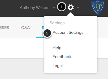 Image of the settings menu with the following annotations: 1.In the upper right hand corner of the screen, click on the Gear icon.2.Select Account Settings from the menu.