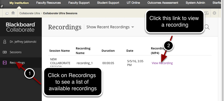 Viewing a Recording